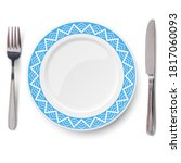 empty blue plate with white...   Shutterstock . vector #1817060093