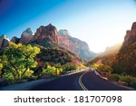 a stunning view of zion canyon | Shutterstock . vector #181707098