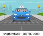 terrified instructor sitting in ... | Shutterstock .eps vector #1817073080