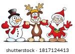 cute cartoon scene with santa ... | Shutterstock .eps vector #1817124413
