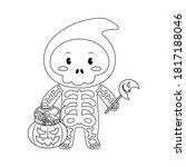 little skeleton boy with...   Shutterstock .eps vector #1817188046