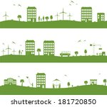 city with cartoon houses  green ... | Shutterstock .eps vector #181720850