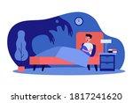 terrified kid scared of monster ... | Shutterstock .eps vector #1817241620