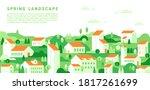 vector spring cityscape in... | Shutterstock .eps vector #1817261699