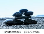 SPA stones details on the beach - stock photo