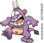 cartoon purple  monster with a... | Shutterstock .eps vector #1817438150