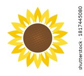Sunflower In Flat Style Vector...