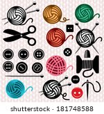 vector yarn balls and sewing... | Shutterstock .eps vector #181748588