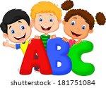 school kids with abc | Shutterstock . vector #181751084