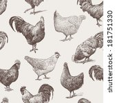 cocks and hens | Shutterstock .eps vector #181751330