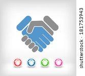 handshake minimal icon | Shutterstock .eps vector #181753943