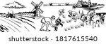 rural landscape field wheat ...   Shutterstock .eps vector #1817615540