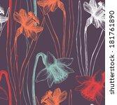 seamless vector narcissus...   Shutterstock .eps vector #181761890