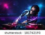 young disc jockey playing music ... | Shutterstock . vector #181762193