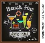 chalkboard beach bar poster  ... | Shutterstock .eps vector #181763030