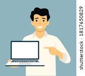 businessman holding laptop...   Shutterstock .eps vector #1817650829