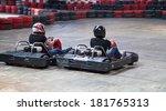 indoor karting race  2 kart and ... | Shutterstock . vector #181765313