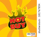 hot buy sticker  with flames | Shutterstock .eps vector #181767854