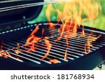 grill with big flame  | Shutterstock . vector #181768934