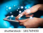 finger pointing on tablet pc ... | Shutterstock . vector #181769450
