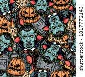 halloween elements vintage... | Shutterstock .eps vector #1817772143