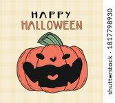 cute orange pumpkin laugh smile ...   Shutterstock .eps vector #1817798930