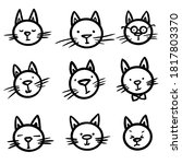 trendy set with animals cats... | Shutterstock .eps vector #1817803370