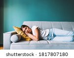 Young Caucasian Woman Lying On...