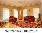 guest room with red sofas in... | Shutterstock . vector #18179407