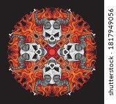 halloween ornament of skulls... | Shutterstock .eps vector #1817949056