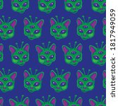 cute alien cats seamless pattern | Shutterstock .eps vector #1817949059