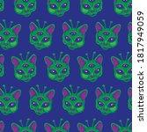 cute alien cats seamless pattern | Shutterstock .eps vector #1817949059