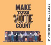 people at voting booth with... | Shutterstock .eps vector #1817981693