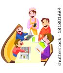 family in the restaurant... | Shutterstock . vector #181801664