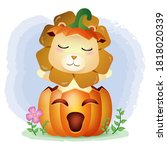 a cute lion in the halloween...