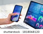 analytics results on mobile... | Shutterstock . vector #1818068120