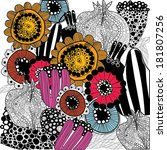 vector floral stylish hand... | Shutterstock .eps vector #181807256