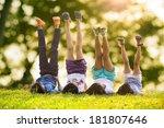 group of happy children lying... | Shutterstock . vector #181807646