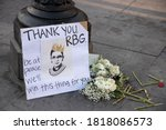 Small photo of NEW YORK, N.Y. – September 19, 2020: A makeshift memorial to United States Supreme Court Justice Ruth Bader Ginsburg is seen in Washington Square Park.