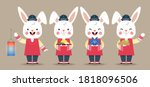 set of cute cartoon rabbit...   Shutterstock .eps vector #1818096506
