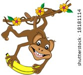 Happy monkey and banana vector. - stock vector