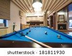 billiard table in luxury living ... | Shutterstock . vector #181811930