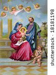 Holy Family - vintage Christmas illustration of Christ child - stock photo