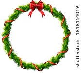 thin christmas wreath with red... | Shutterstock .eps vector #1818154019