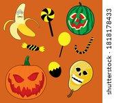 hallowen doodles   fruits and... | Shutterstock .eps vector #1818178433