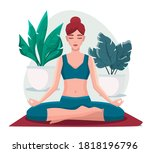 woman sitting in lotus position ... | Shutterstock .eps vector #1818196796
