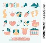 vector set  newborn and baby... | Shutterstock .eps vector #181821350