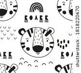 monochrome seamless pattern... | Shutterstock .eps vector #1818220670