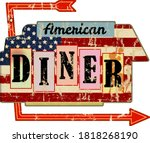 grungy american diner sign ... | Shutterstock .eps vector #1818268190