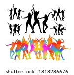 set dancing people. vector... | Shutterstock .eps vector #1818286676